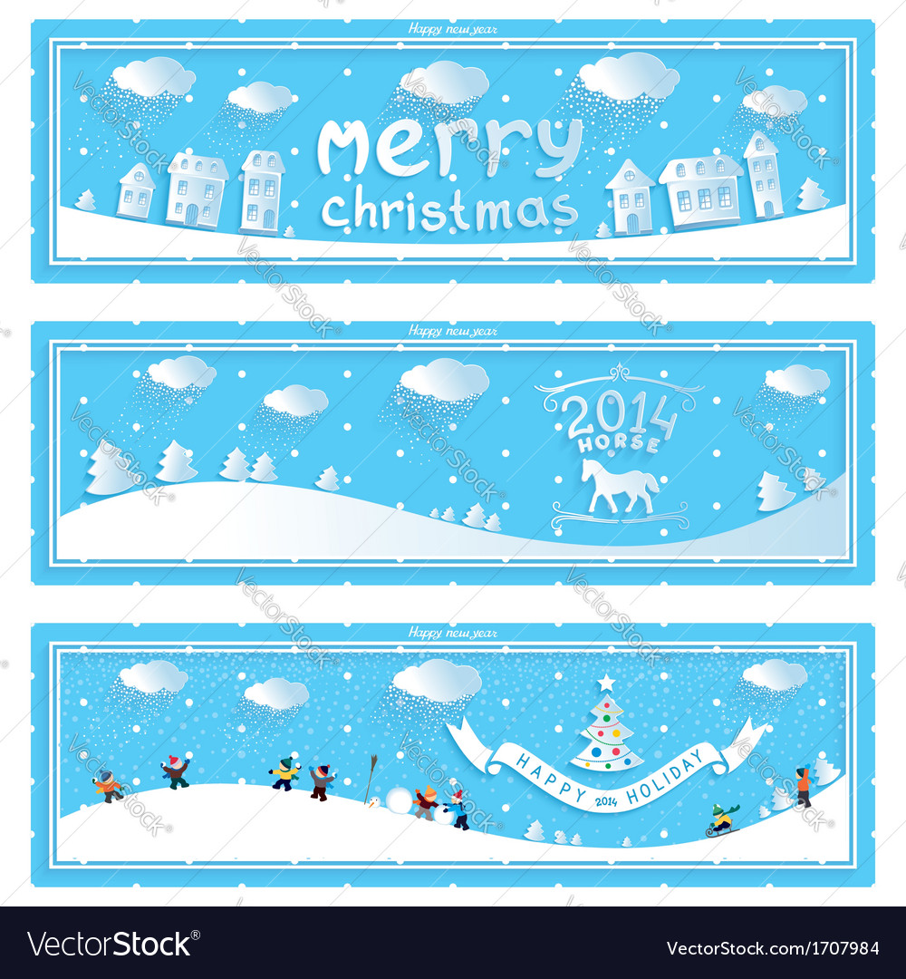 Three happy new year and christmas banner vector | Price: 1 Credit (USD $1)