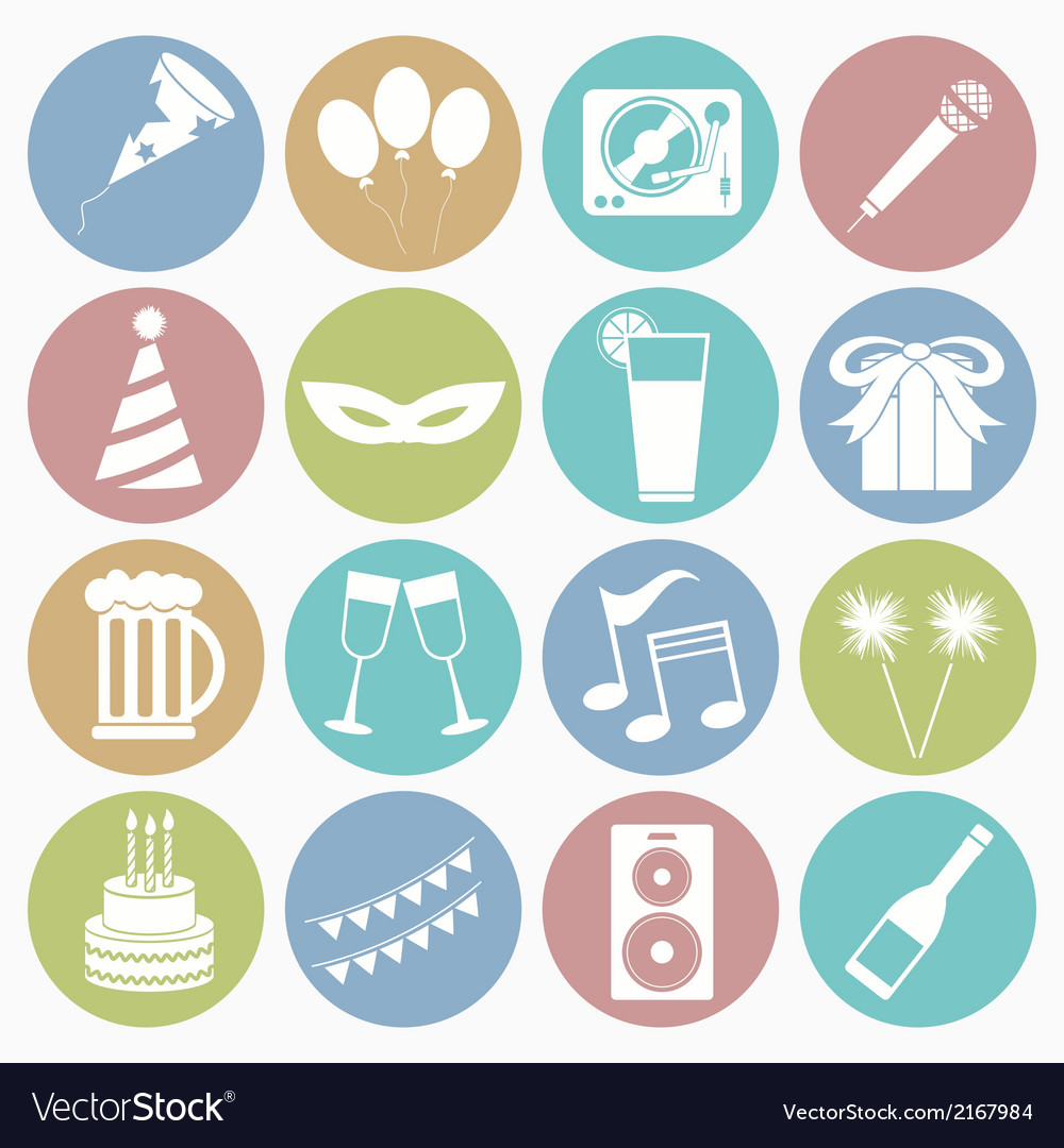 White icons party vector | Price: 1 Credit (USD $1)
