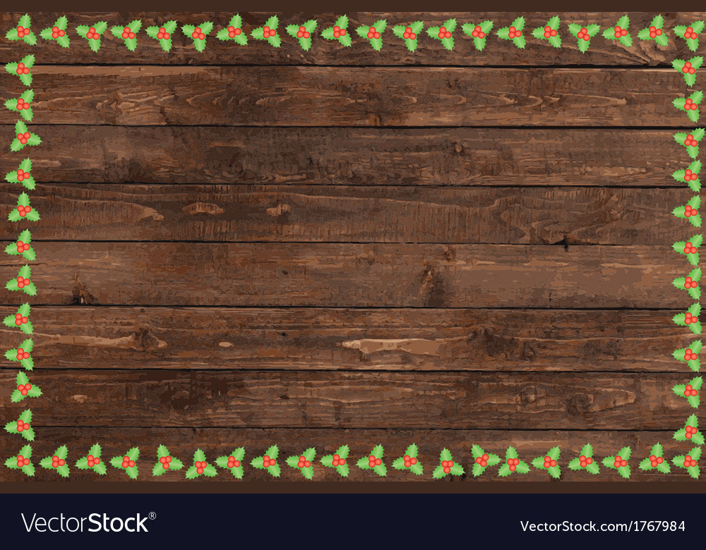 Wooden christmas background vector