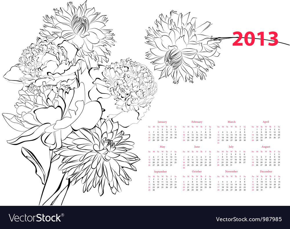 Calendar for 2013 with flowers vector | Price: 1 Credit (USD $1)