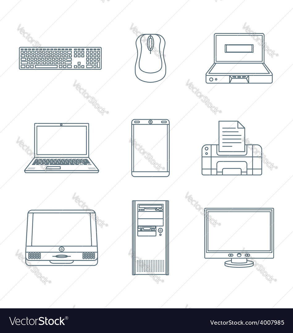 Dark outline computer gadgets icons vector | Price: 1 Credit (USD $1)