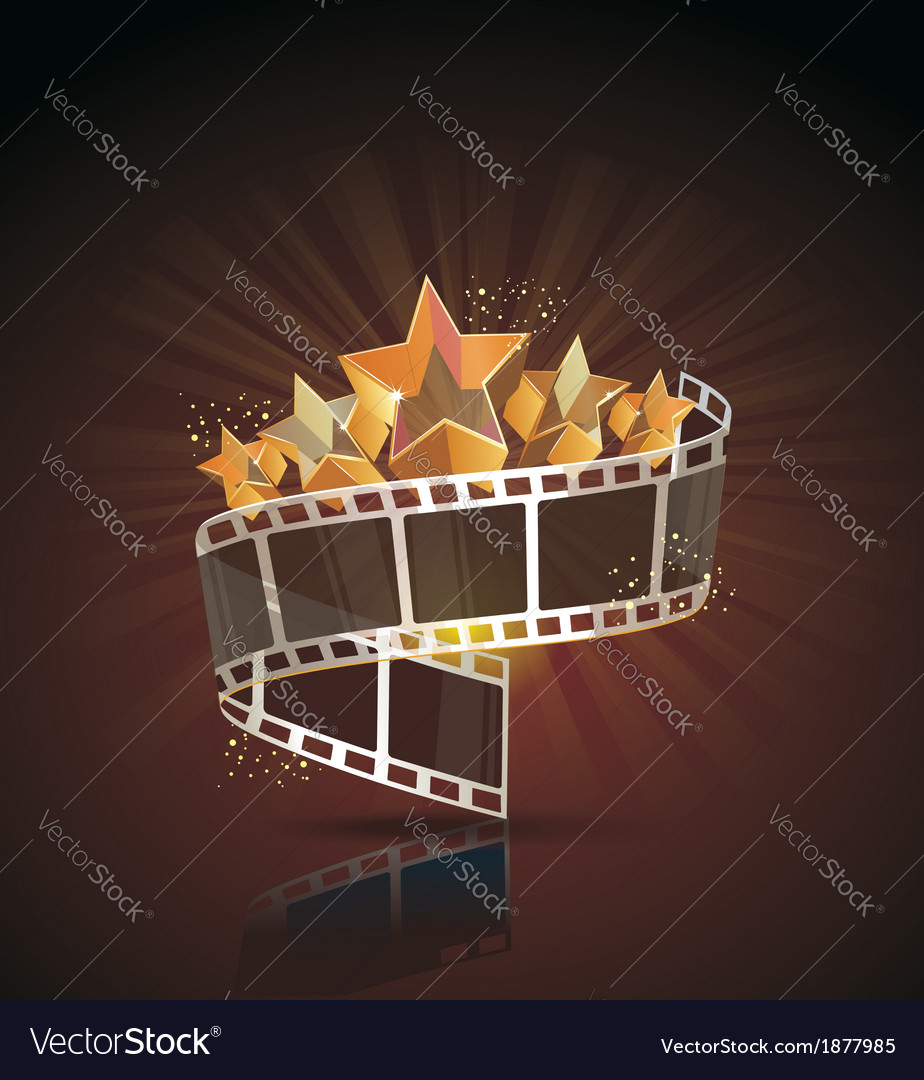 Film strip roll with gold stars cinema background vector | Price: 1 Credit (USD $1)