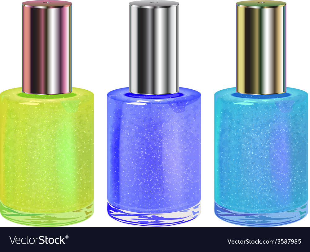Nail polish with silver cap set vector | Price: 1 Credit (USD $1)