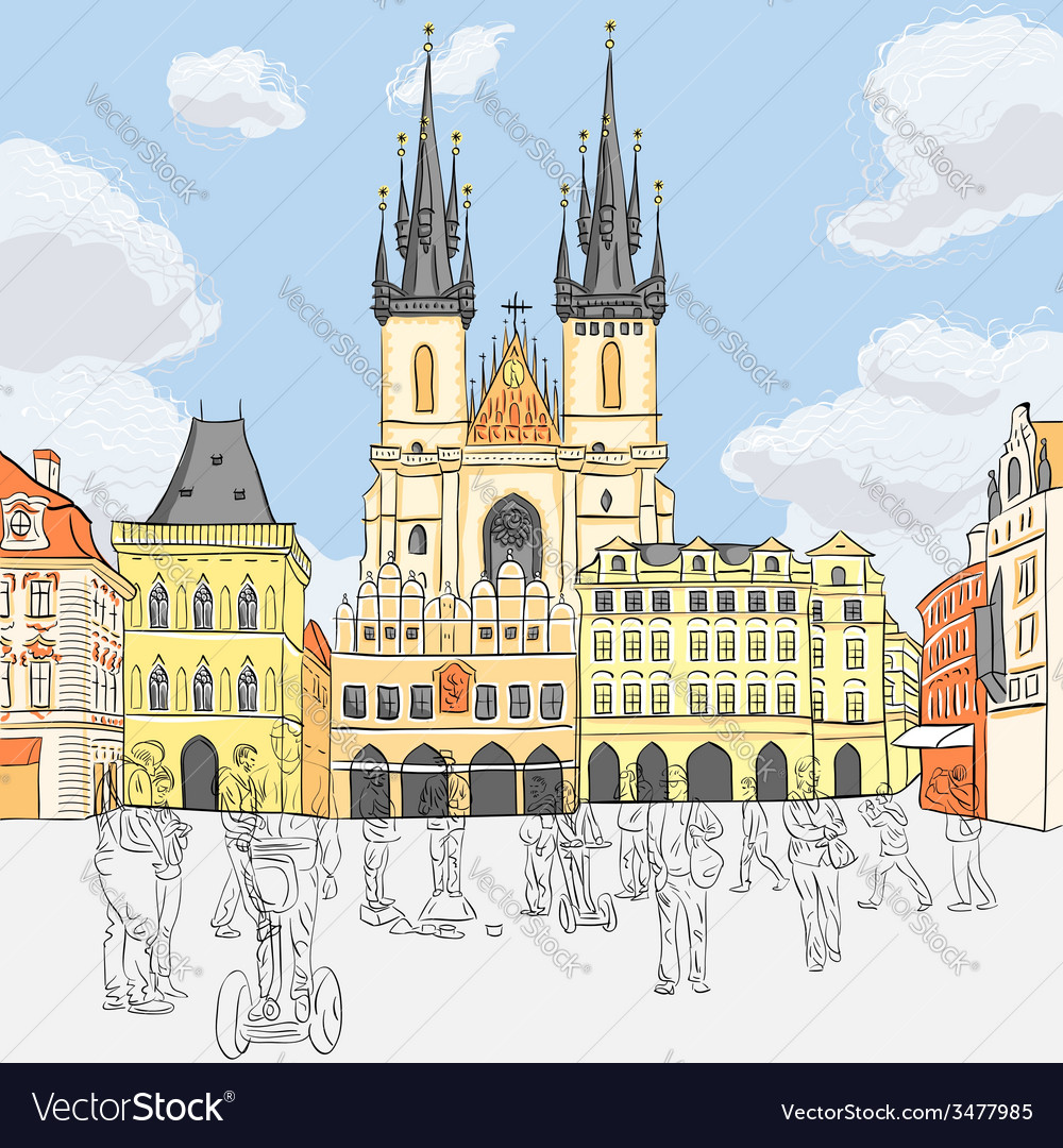 Old town square in prague vector | Price: 1 Credit (USD $1)
