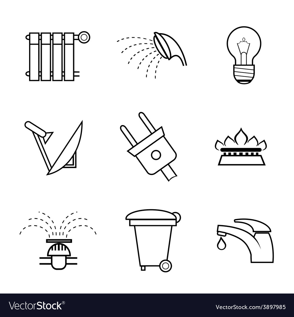Public service and utilities icons vector | Price: 1 Credit (USD $1)