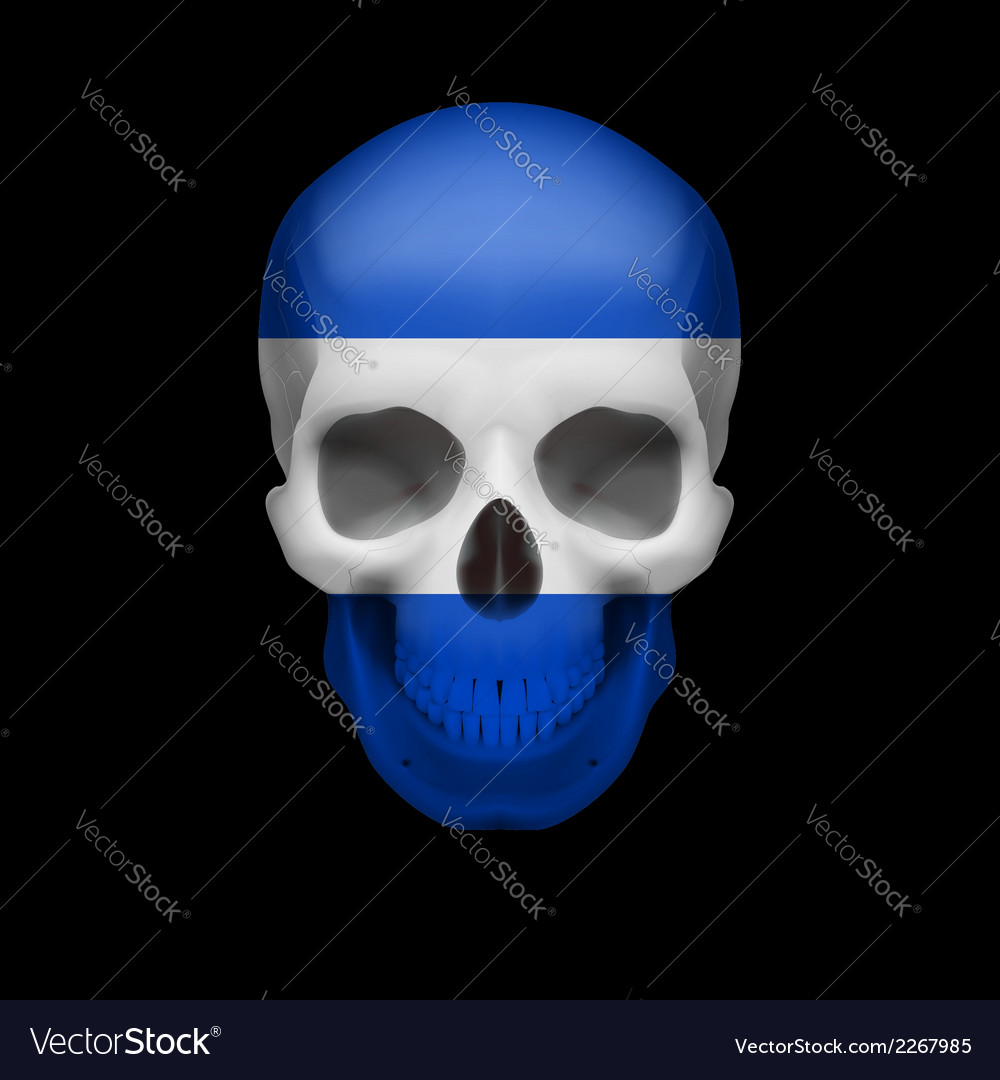 Salvadoran flag skull vector | Price: 1 Credit (USD $1)