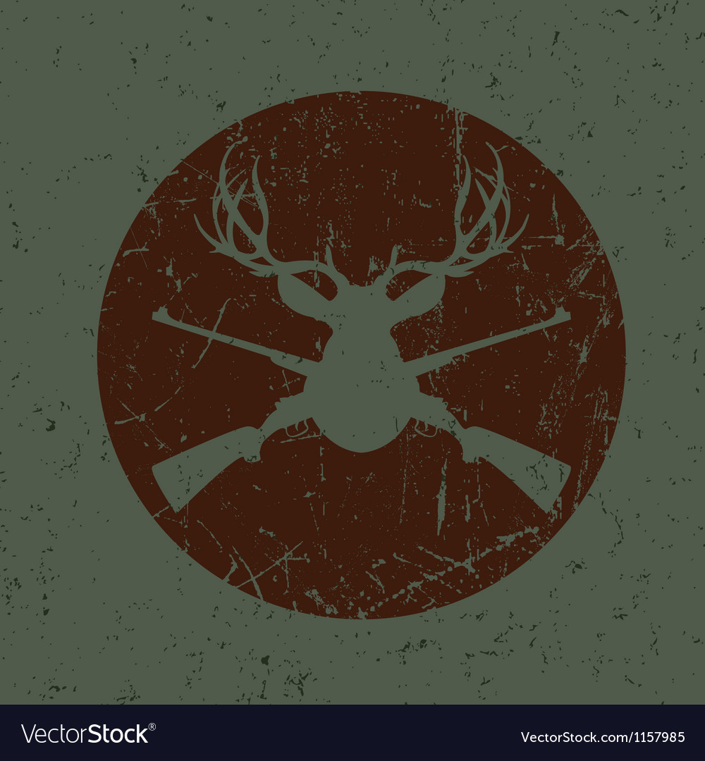Vintage deer hunter seal vector | Price: 1 Credit (USD $1)