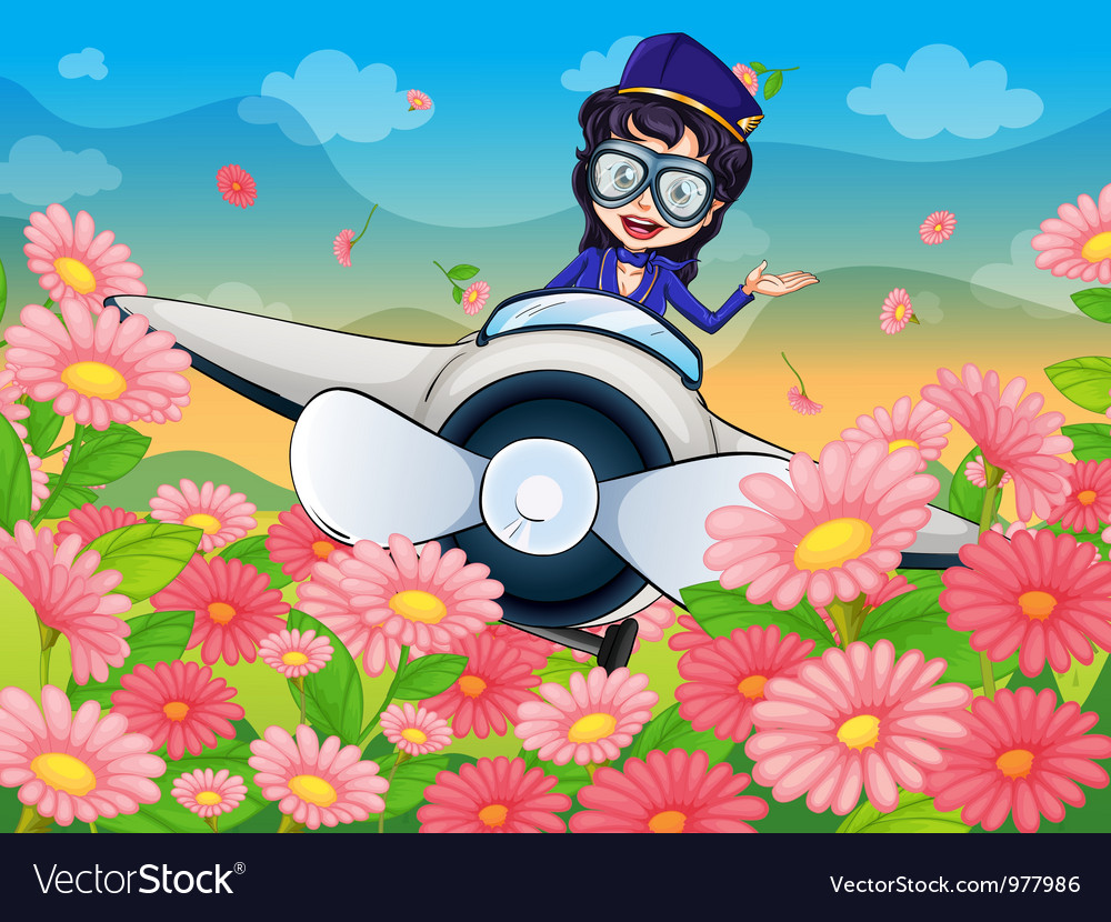 A girl flying plane vector | Price: 3 Credit (USD $3)