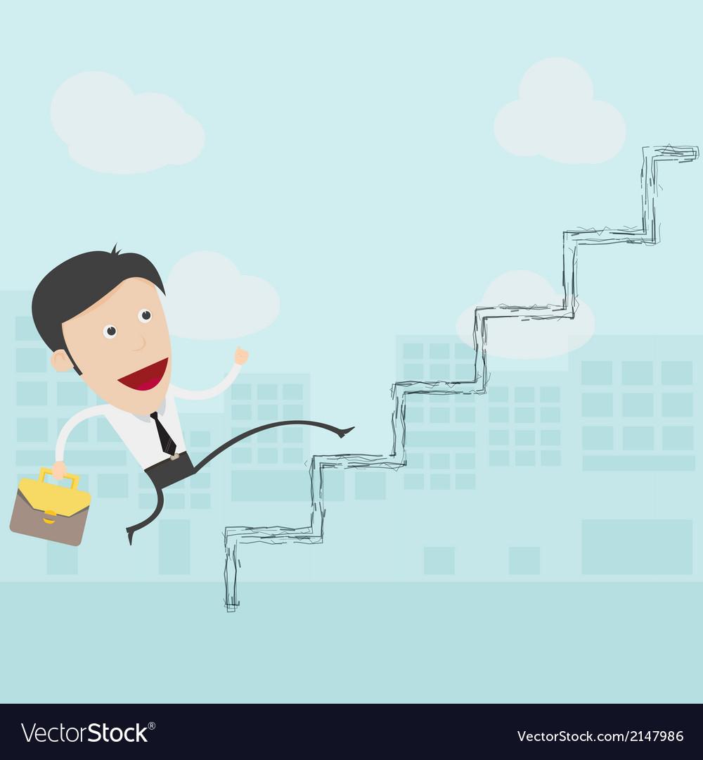 Businessman in white shirt walks up the ladder vector