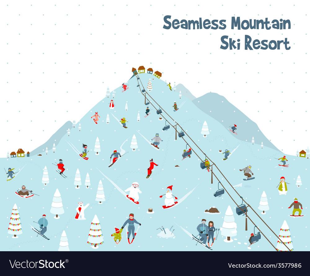Cartoon mountain ski resort seamless border vector | Price: 1 Credit (USD $1)