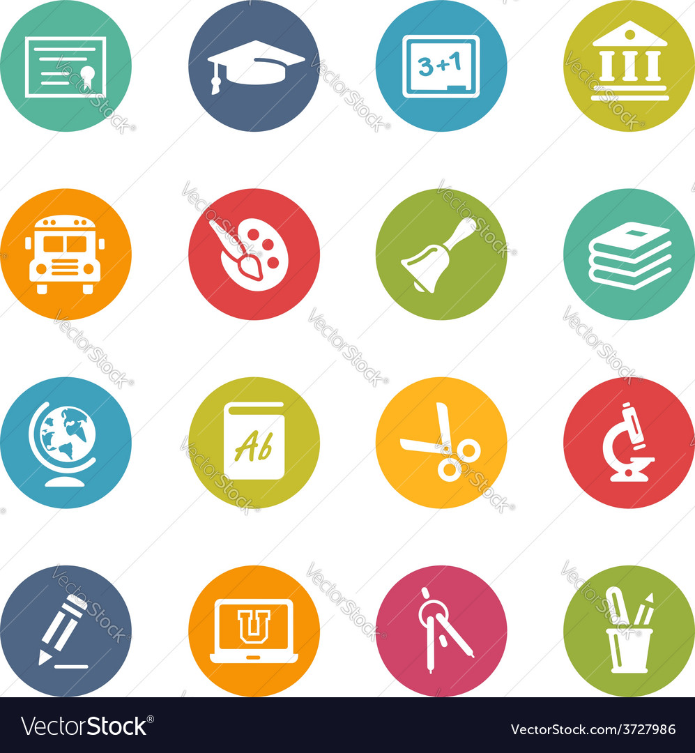 Education-icons fresh-colors-series vector | Price: 1 Credit (USD $1)