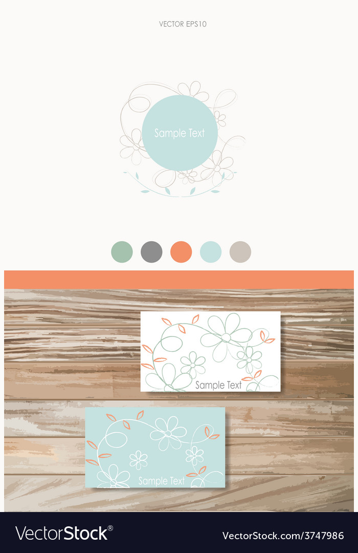 Modern business card design template with flowers vector | Price: 1 Credit (USD $1)