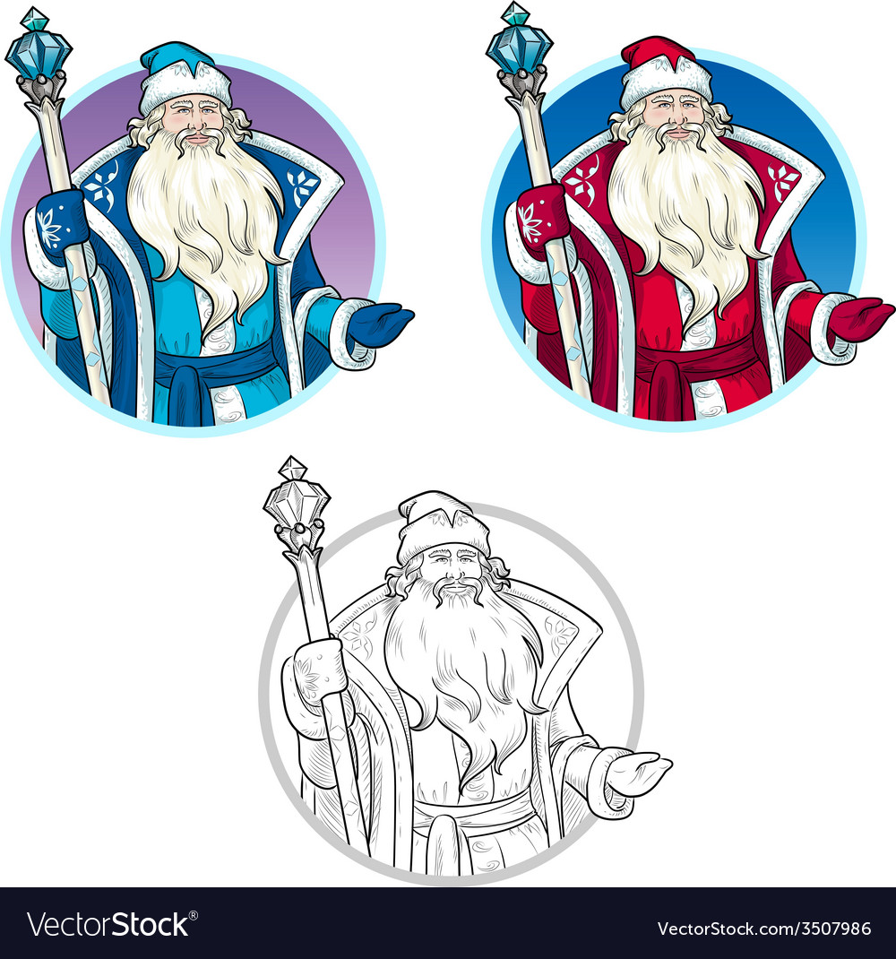Russian christmas character father frost lineart vector | Price: 1 Credit (USD $1)