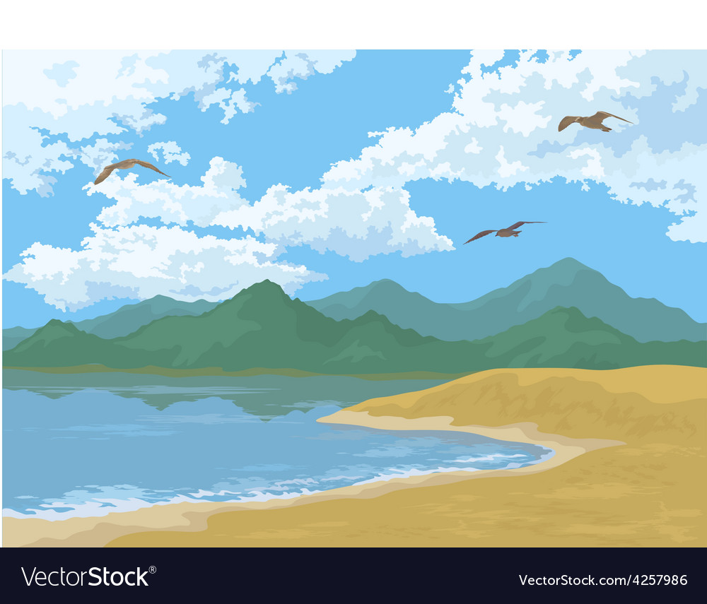 Sea landscape with mountains and birds vector | Price: 1 Credit (USD $1)