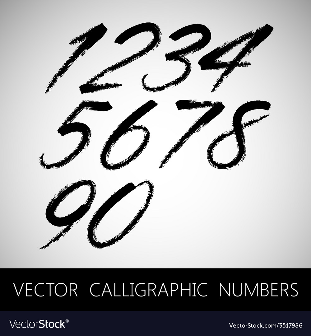 Set of calligraphic marker or ink numbers vector | Price: 1 Credit (USD $1)