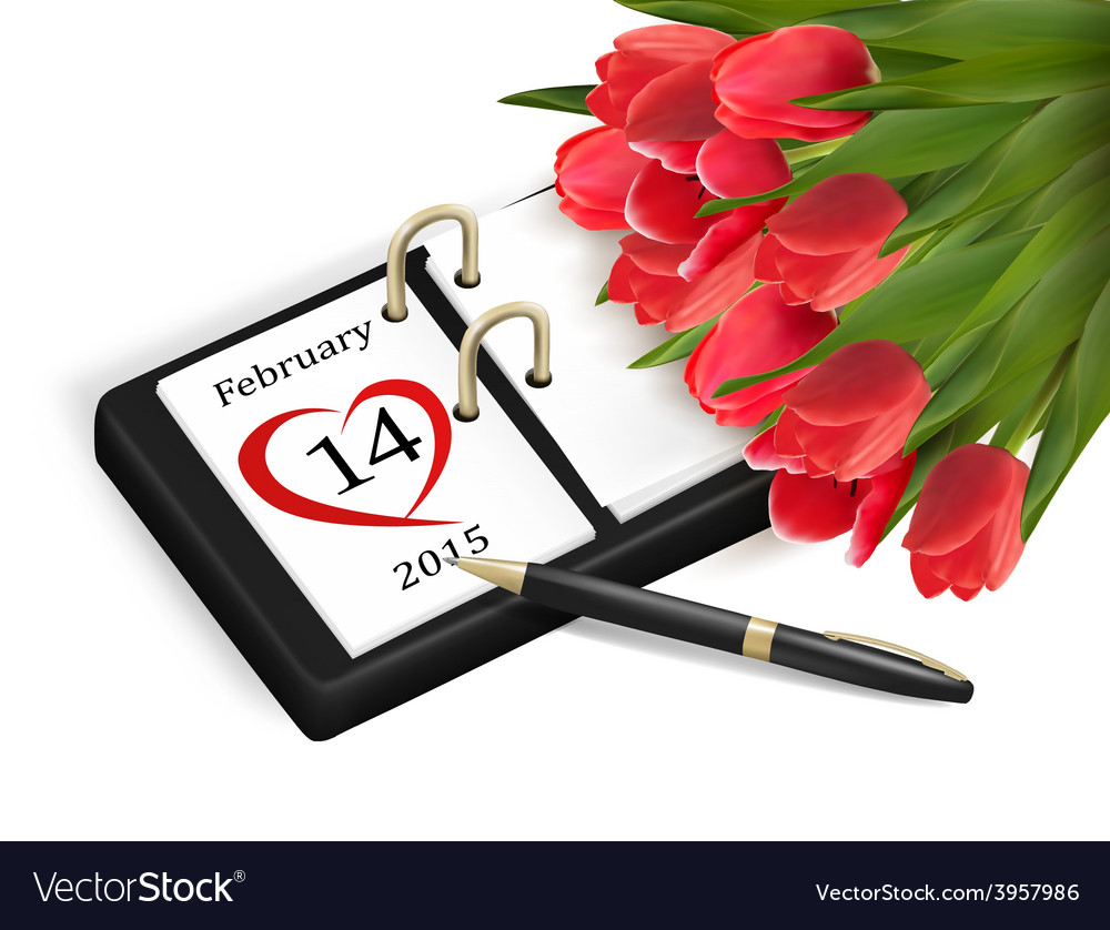 Valentines day calendar february 14 of saint vector | Price: 3 Credit (USD $3)