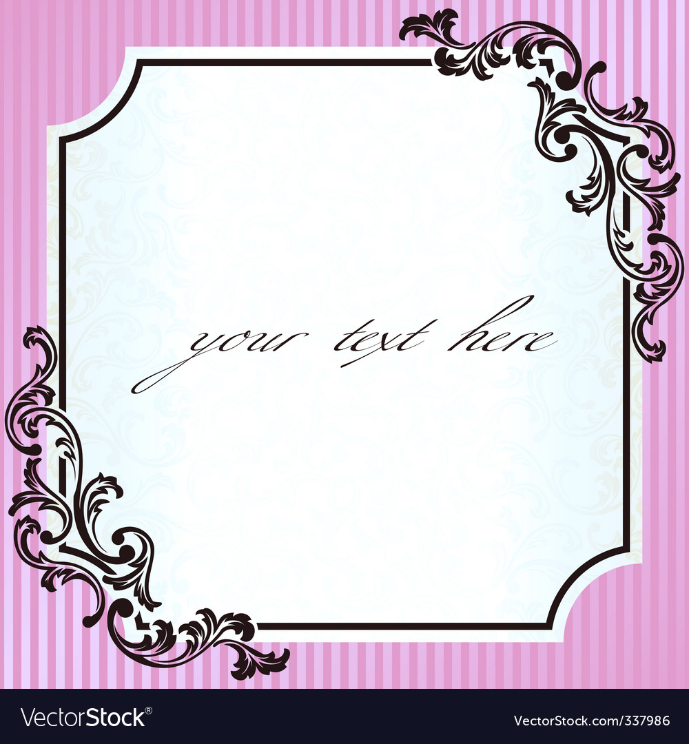 Vintage rococo frame in pink vector | Price: 1 Credit (USD $1)