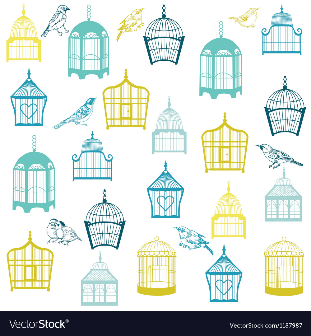 Birds and birdcages background vector | Price: 1 Credit (USD $1)
