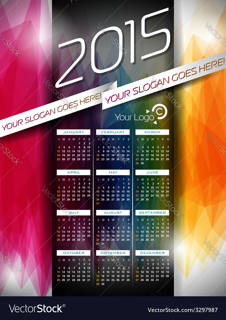 Calendar 2015 on abstract color background vector | Price: 1 Credit (USD $1)