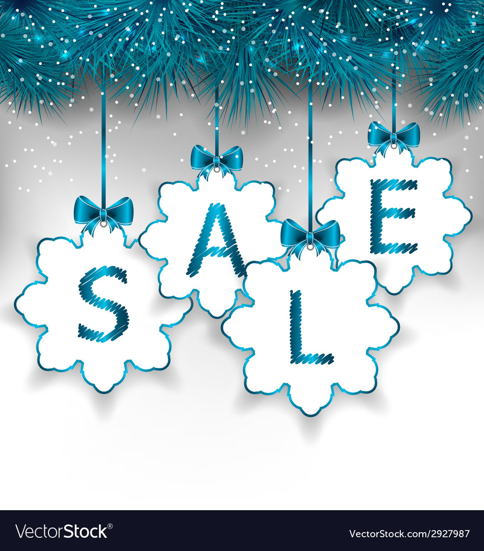 Christmas paper snowflakes with lettering sale vector | Price: 1 Credit (USD $1)