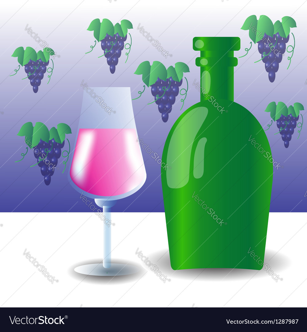 Green bottle and wineglass vector | Price: 1 Credit (USD $1)