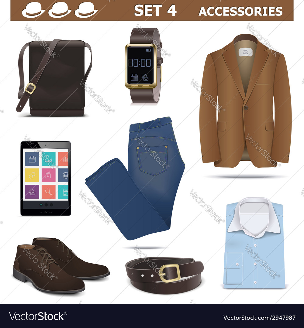 Male accessories set 4 vector | Price: 1 Credit (USD $1)