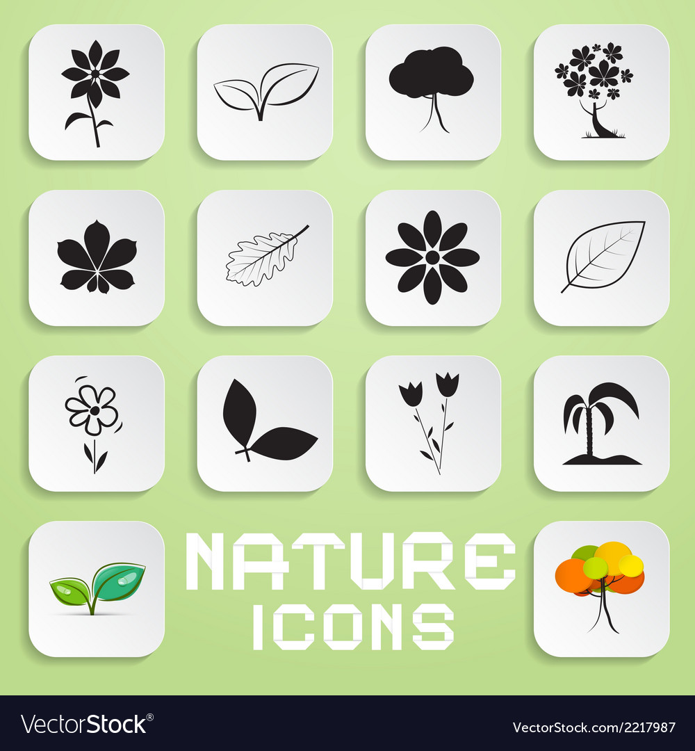 Nature paper icons set with flowers leaves and vector | Price: 1 Credit (USD $1)