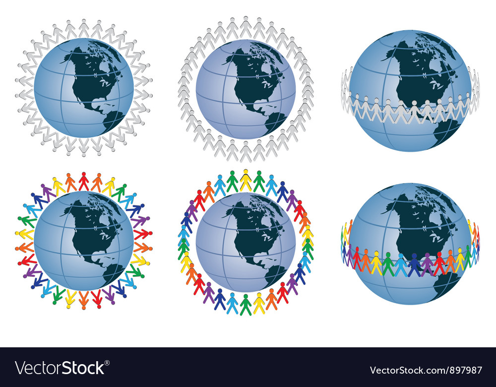 People around the globe vector | Price: 1 Credit (USD $1)