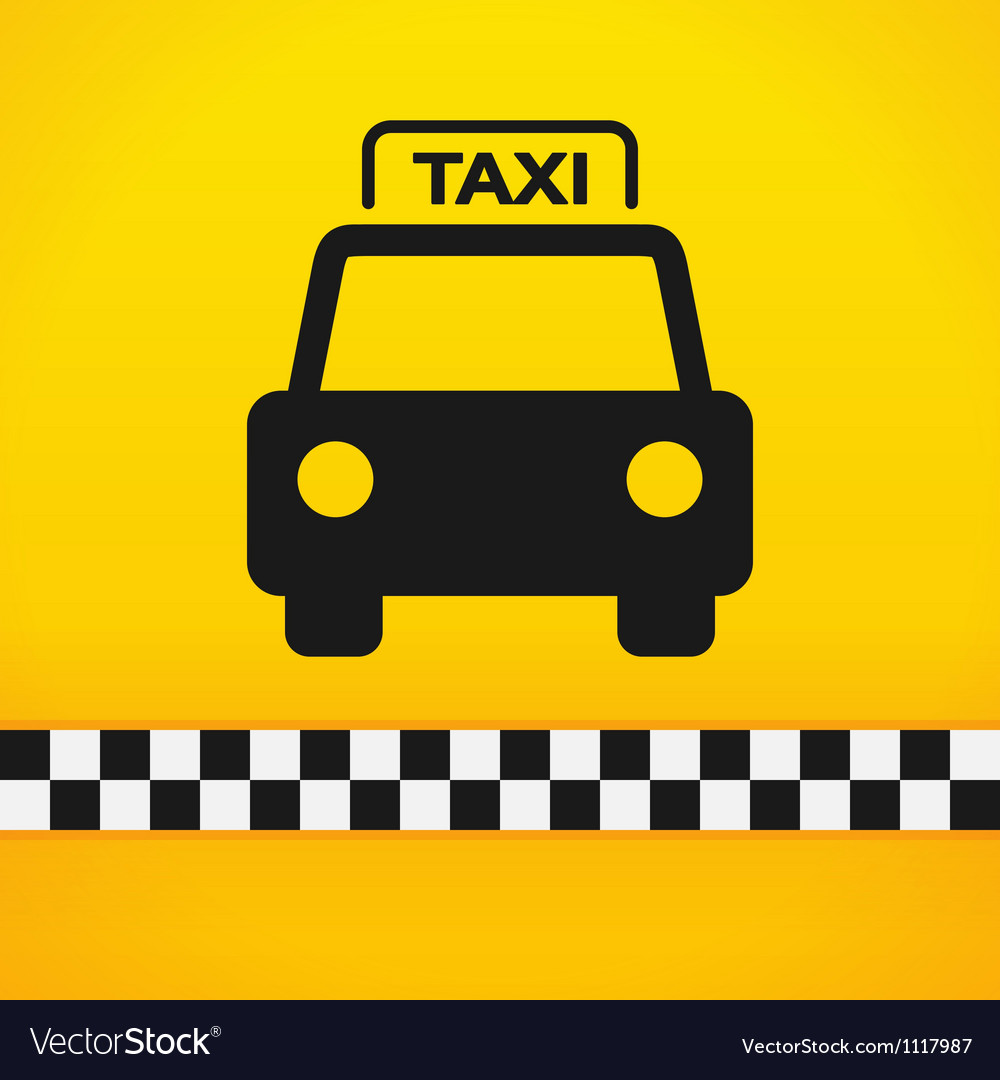 Taxi cab symbol on yellow vector | Price: 1 Credit (USD $1)