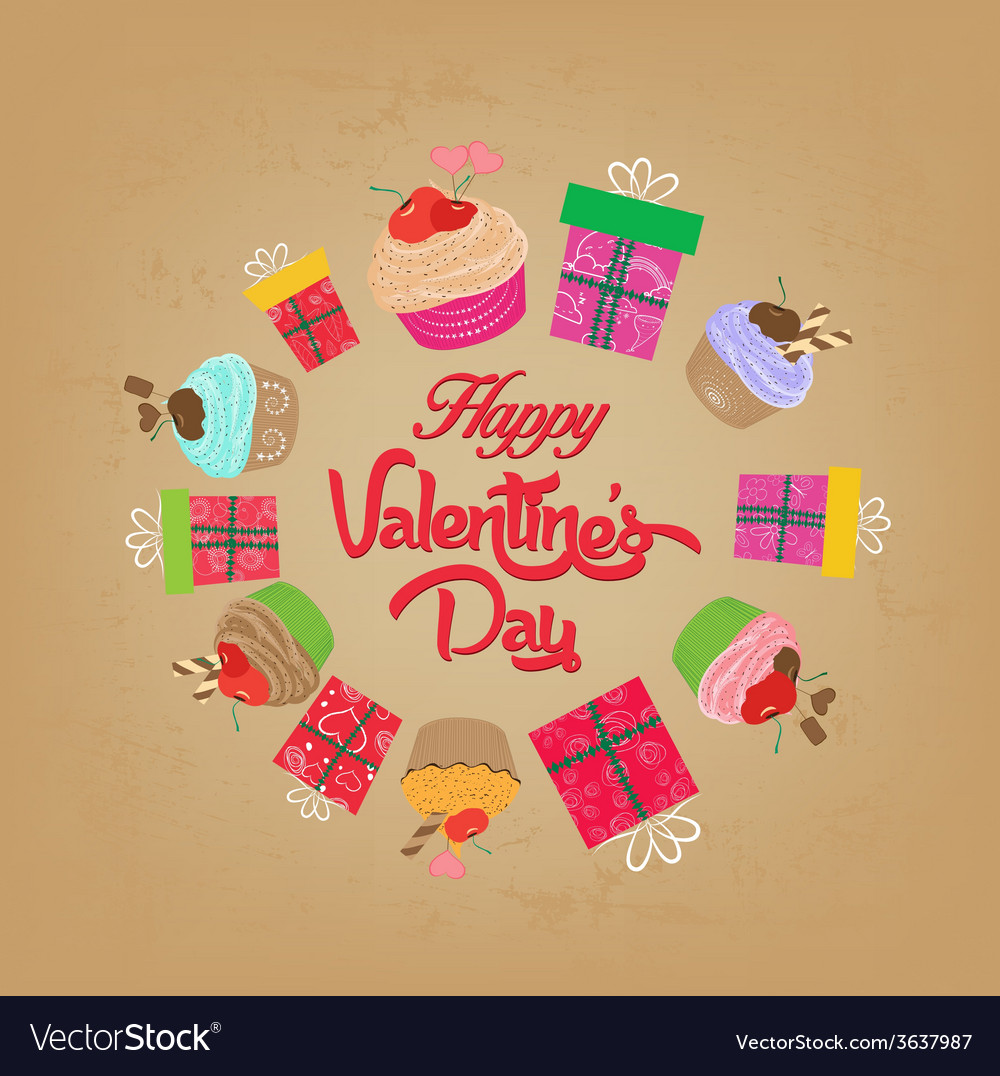 Vintage valentines day cupcakes and gifts vector | Price: 1 Credit (USD $1)