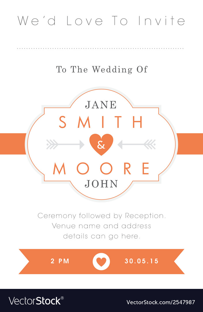 Wedding invitation orange style vector | Price: 1 Credit (USD $1)