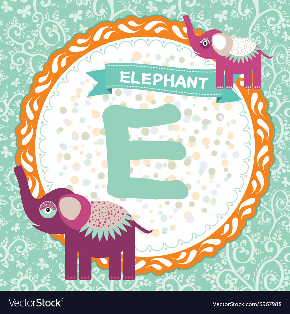 Abc animals e is elephant childrens english vector | Price: 1 Credit (USD $1)