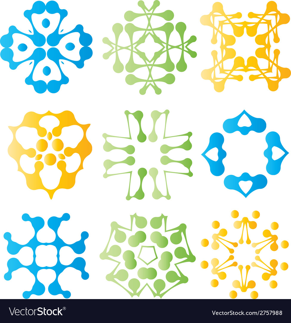 Beautiful colorful abstract flower elements vector | Price: 1 Credit (USD $1)