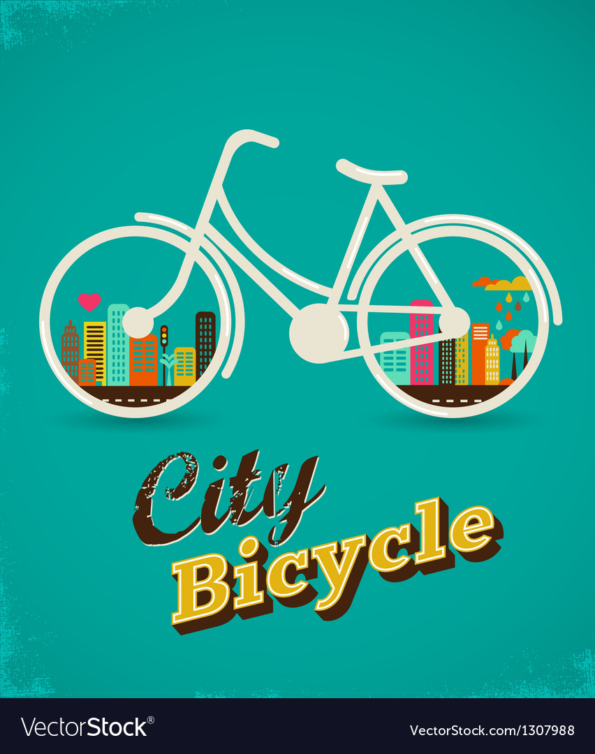 Bicycle in the city vintage style poster vector | Price: 1 Credit (USD $1)