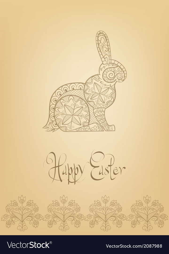 Easter folk ornament rabbit hand-drawn typography vector | Price: 1 Credit (USD $1)