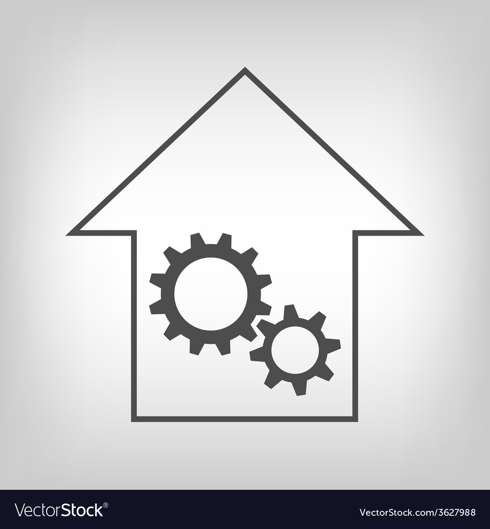 House with gear wheels vector | Price: 1 Credit (USD $1)