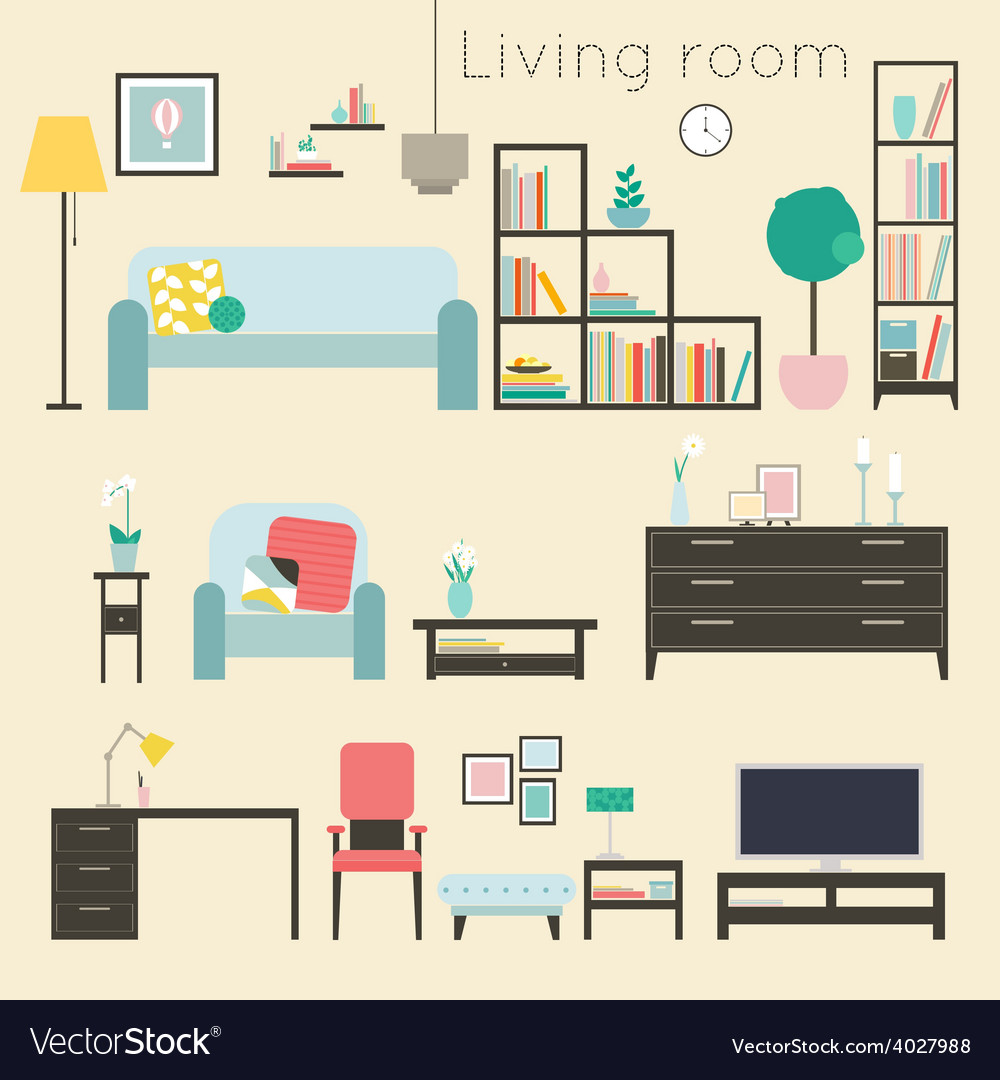 Living room furniture and home accessories vector | Price: 1 Credit (USD $1)