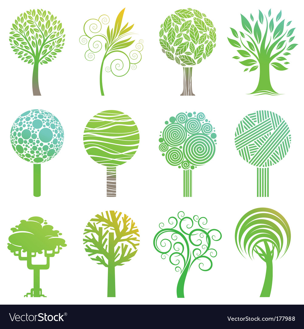 Set of trees emblem vector | Price: 1 Credit (USD $1)