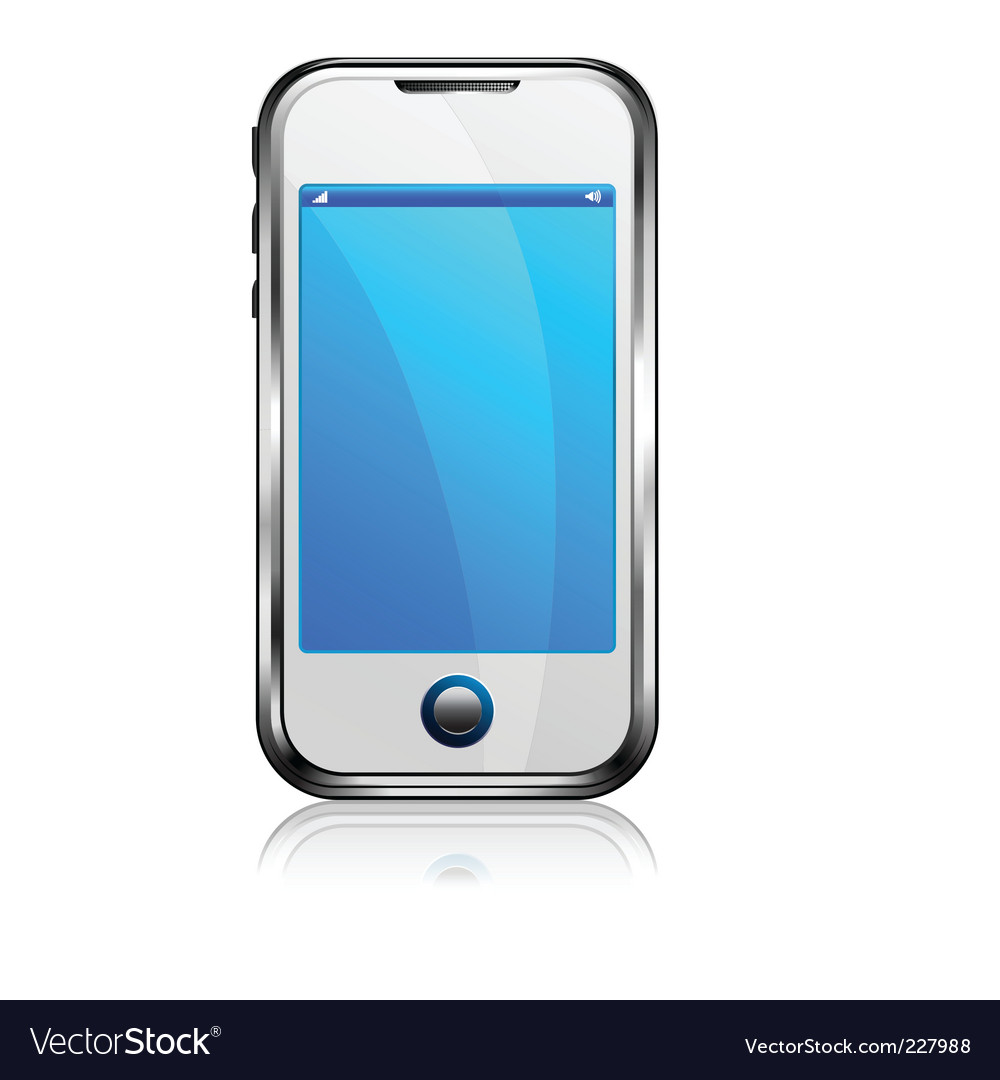 Stylish silver cell phone vector | Price: 1 Credit (USD $1)
