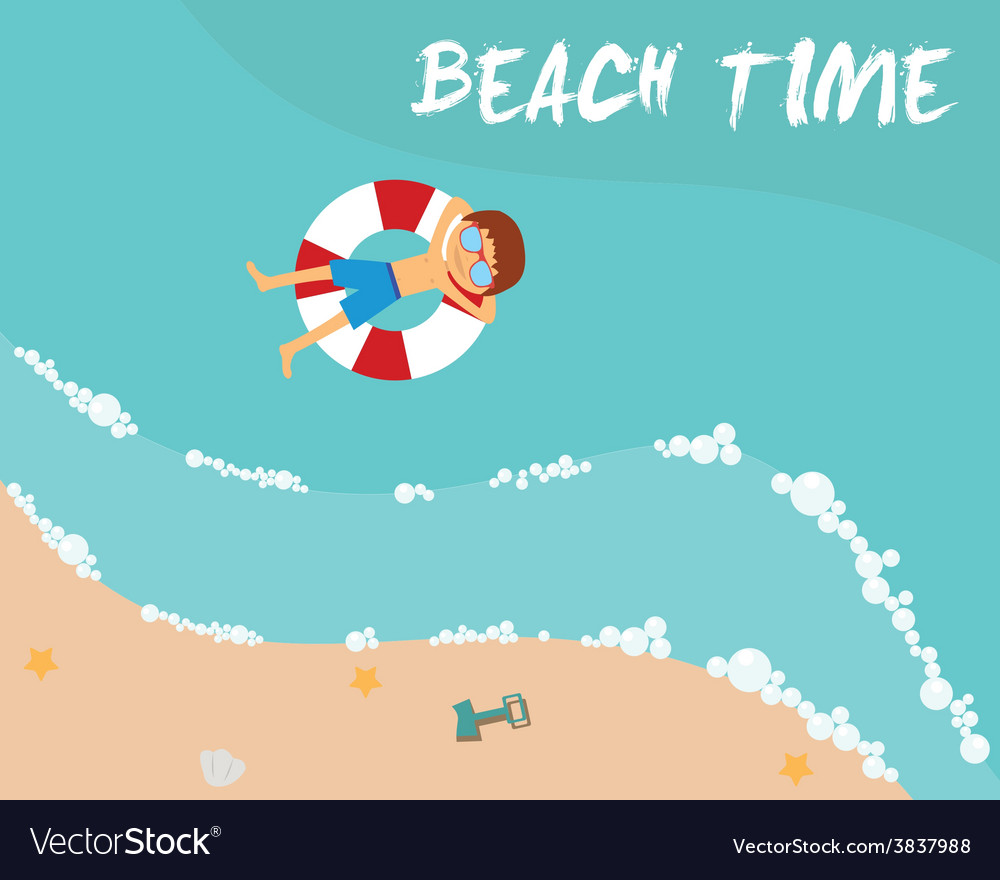 Summer beach in flat design aerial view sea side vector   Price: 1 Credit (USD $1)