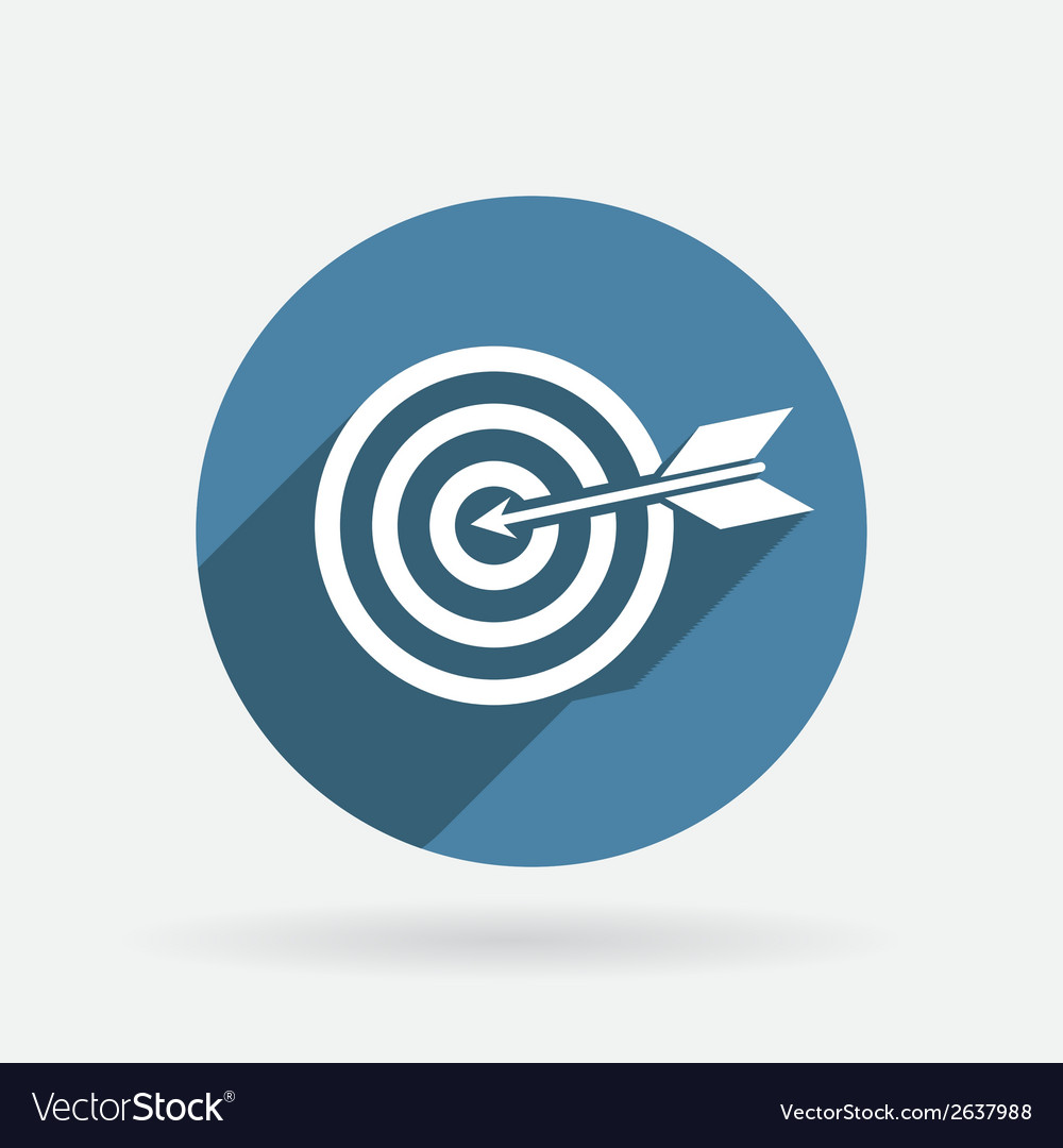 Target circle blue icon with shadow vector | Price: 1 Credit (USD $1)