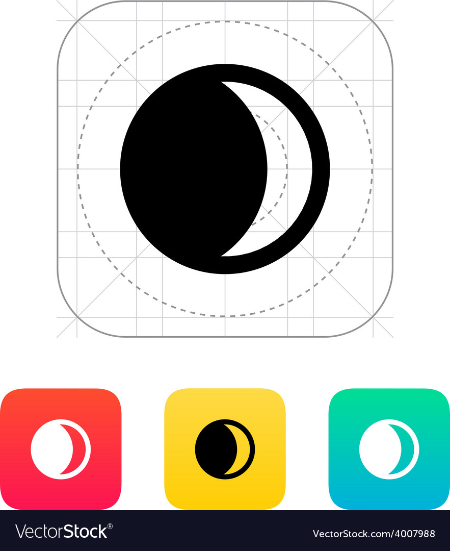 Waxing crescent moon icon vector | Price: 1 Credit (USD $1)