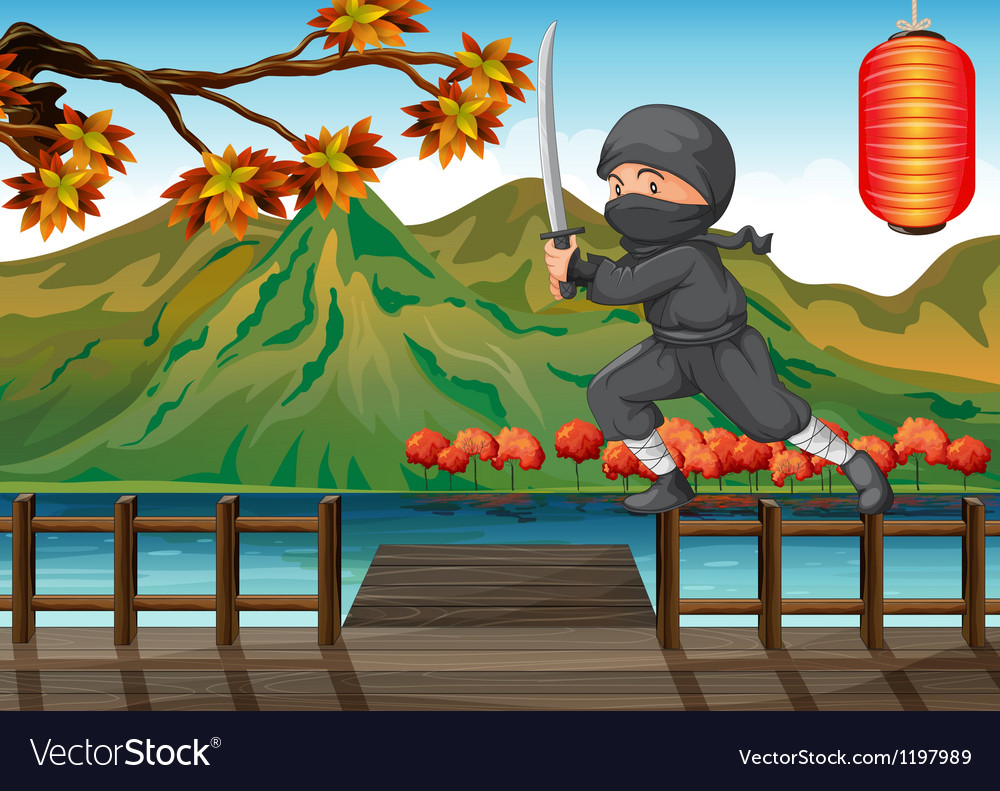 A gray ninja at the seaport vector | Price: 1 Credit (USD $1)