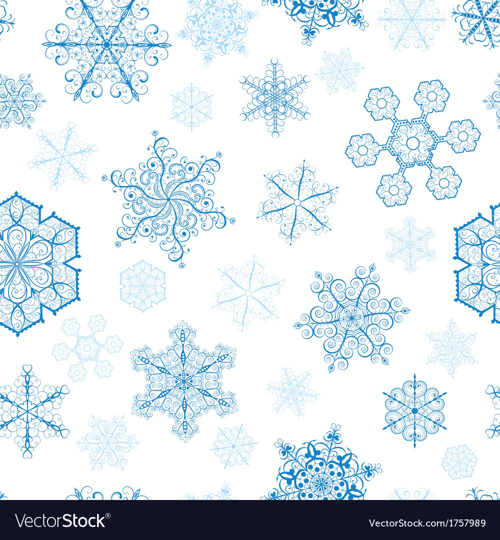 Christmas seamless pattern with blue snowflakes vector | Price: 1 Credit (USD $1)