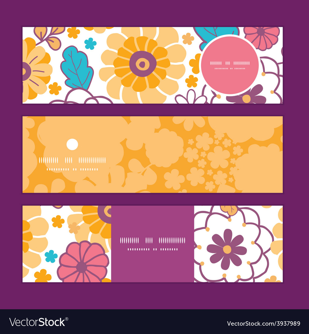 Colorful oriental flowers horizontal vector | Price: 1 Credit (USD $1)