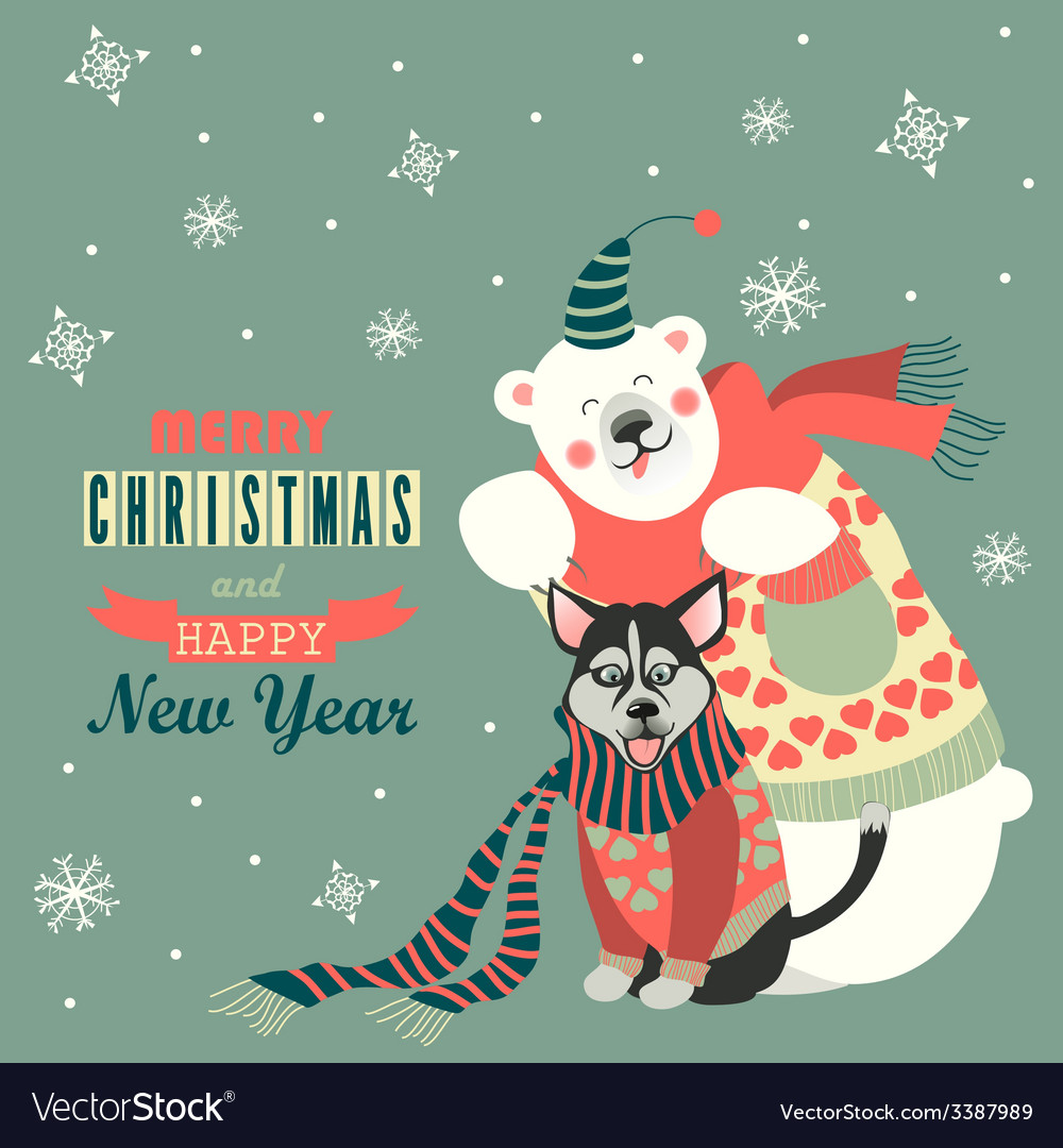 Cute polar bear and husky celebrating christmas vector | Price: 1 Credit (USD $1)