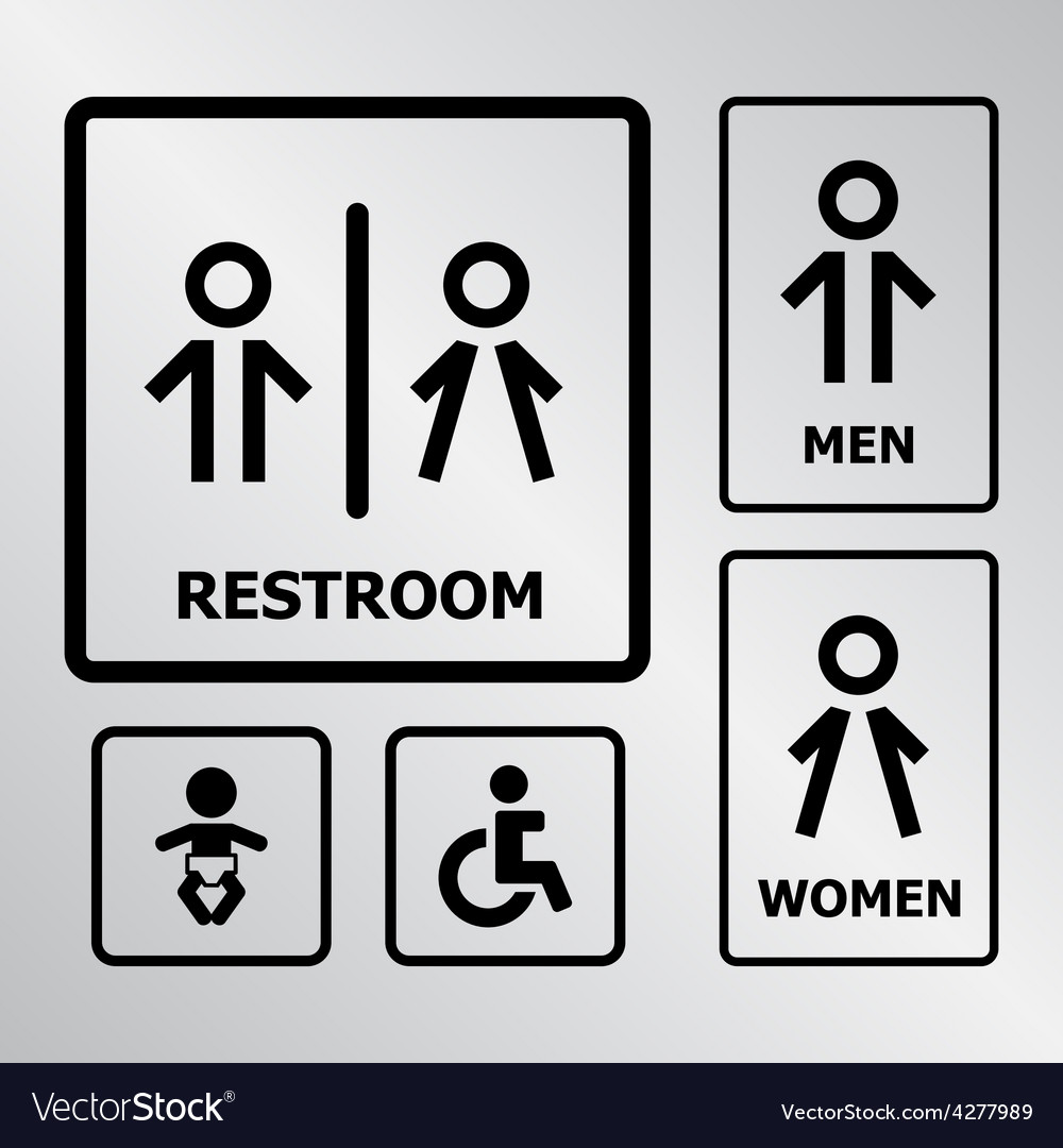 Restroom sign set vector | Price: 1 Credit (USD $1)