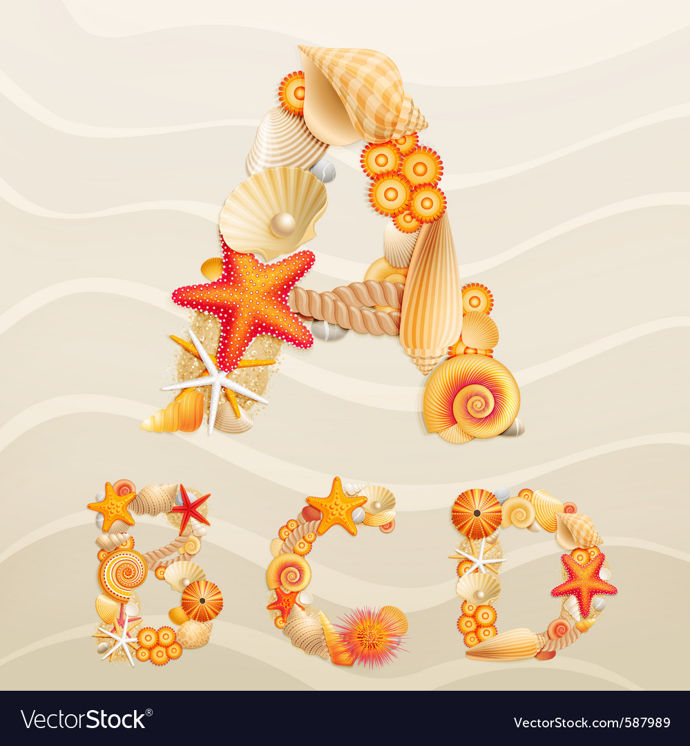 Sea life font on sand vector | Price: 5 Credit (USD $5)