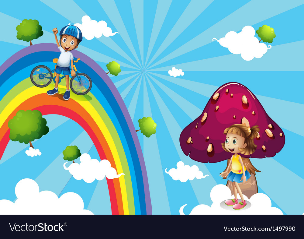 A boy biking in the rainbows vector | Price: 1 Credit (USD $1)