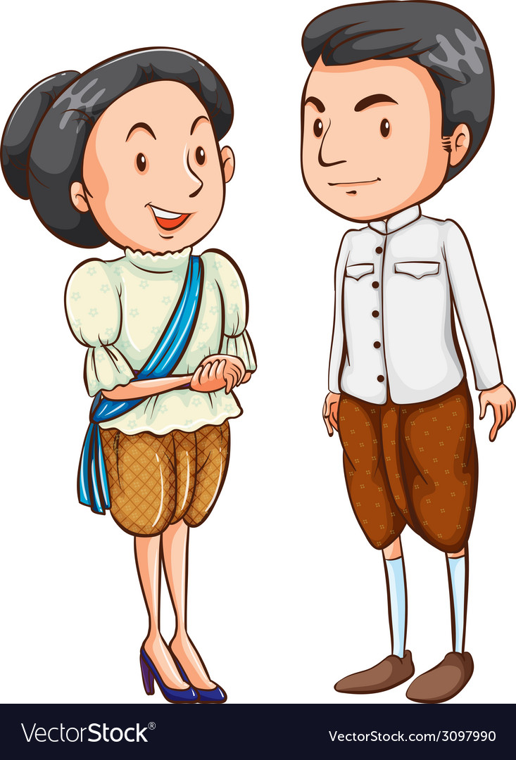 A couple with their costumes vector | Price: 1 Credit (USD $1)
